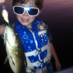 Tray Talley, Clagett's 5 yr old son, smallmouth caught on Strike King Sexy Shad