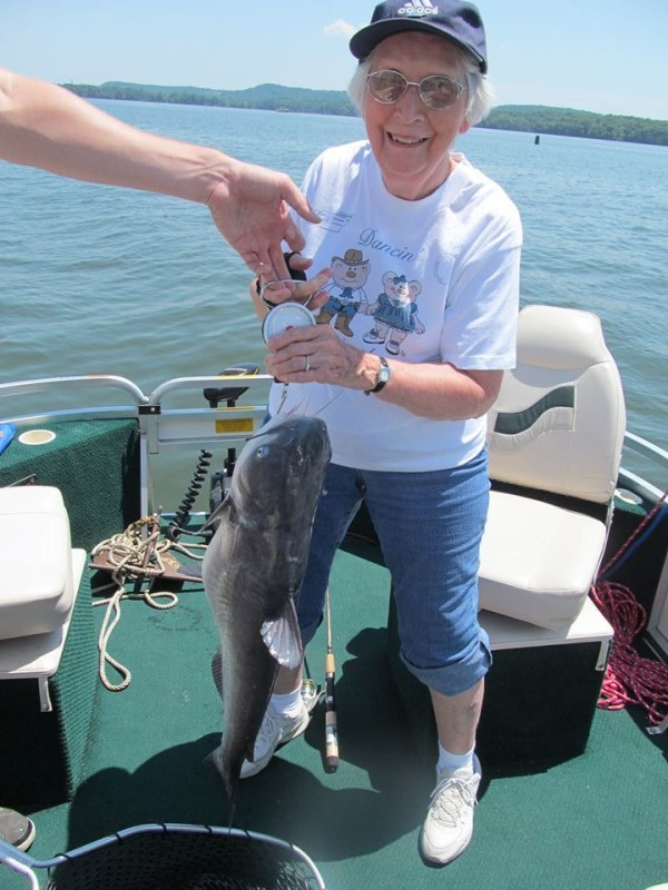 12 lb blue cat caught by landon hartman s 87 year old mil for Blue creek fishing report